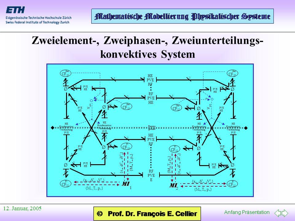 Anfang Präsentation 12. Januar, 2005 Zweielement-, Zweiphasen-, Zweiunterteilungs- konvektives System Gas CF 11 Fl. CF 11 Fl. CF 21 Gas CF 21 Ø 3 3 3