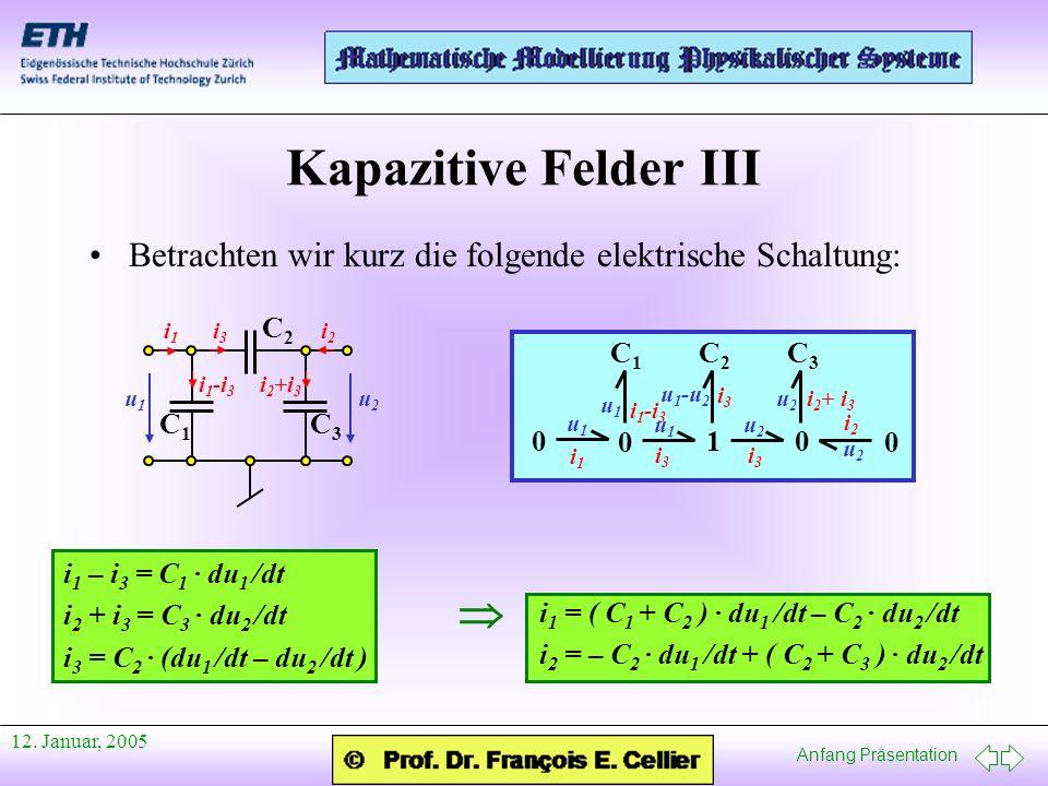 Anfang Präsentation 12. Januar, 2005 Kapazitive Felder III Betrachten wir kurz die folgende elektrische Schaltung: C1C1 C2C2 C3C3 i1i1 i2i2 i3i3 i 1 -