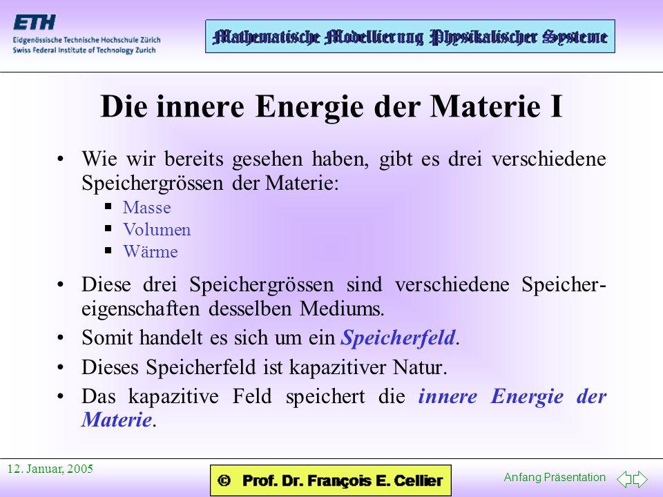 Anfang Präsentation 12. Januar, 2005 Die innere Energie der Materie I Wie wir bereits gesehen haben, gibt es drei verschiedene Speichergrössen der Mat