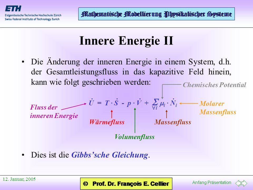 Anfang Präsentation 12. Januar, 2005 Innere Energie II Die Änderung der inneren Energie in einem System, d.h. der Gesamtleistungsfluss in das kapaziti
