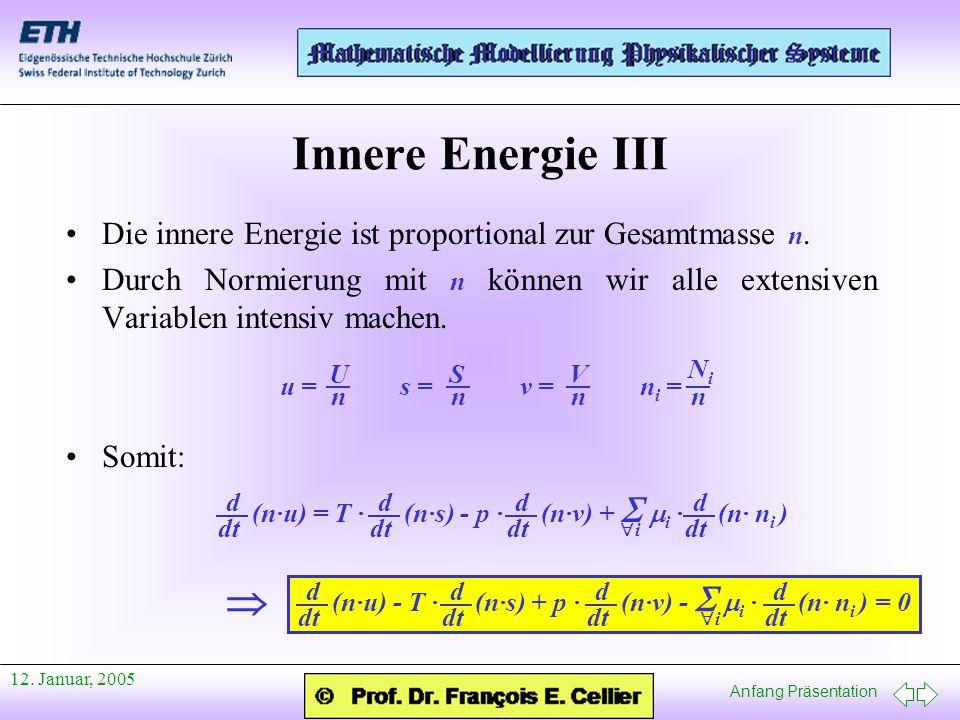 Anfang Präsentation 12. Januar, 2005 Innere Energie III Die innere Energie ist proportional zur Gesamtmasse n. Durch Normierung mit n können wir alle