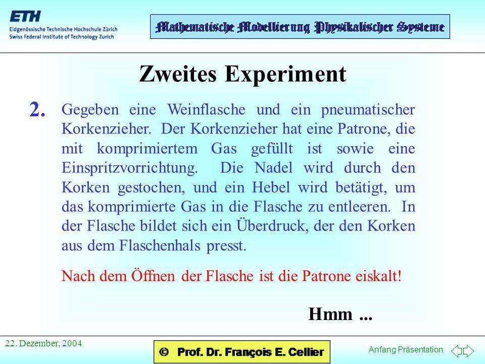 Anfang Präsentation 22. Dezember, 2004 Zweites Experiment 2.