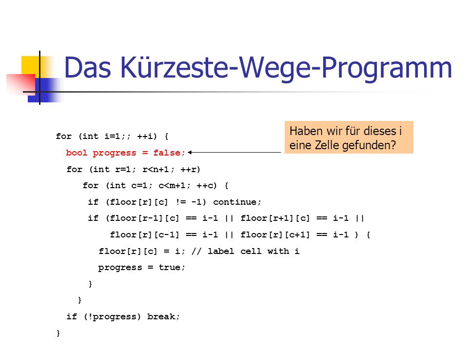 Das Kürzeste-Wege-Programm for (int i=1;; ++i) { bool progress = false; for (int r=1; r<n+1; ++r) for (int c=1; c<m+1; ++c) { if (floor[r][c] != -1) continue; if (floor[r-1][c] == i-1 || floor[r+1][c] == i-1 || floor[r][c-1] == i-1 || floor[r][c+1] == i-1 ) { floor[r][c] = i; // label cell with i progress = true; } if (!progress) break; } Haben wir für dieses i eine Zelle gefunden