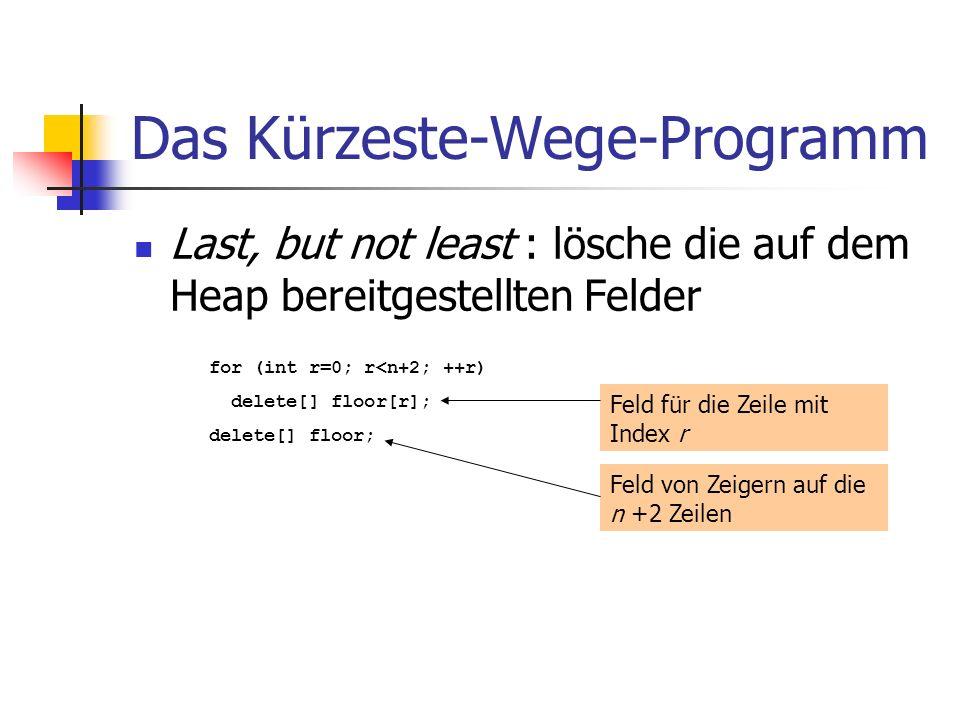 Das Kürzeste-Wege-Programm Last, but not least : lösche die auf dem Heap bereitgestellten Felder for (int r=0; r<n+2; ++r) delete[] floor[r]; delete[]