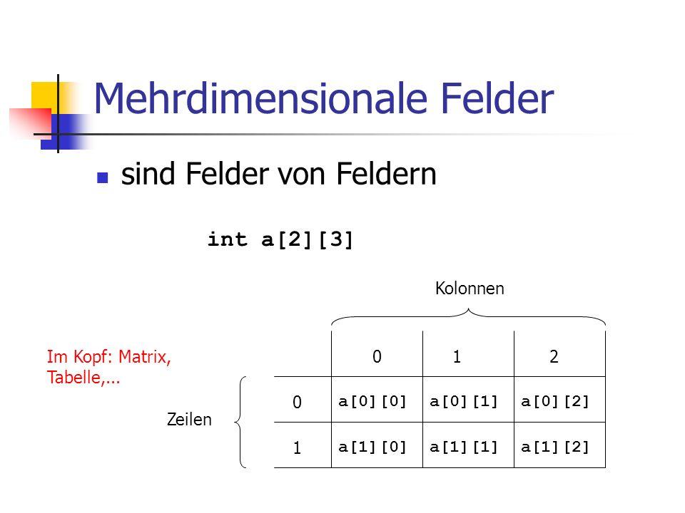 Mehrdimensionale Felder sind Felder von Feldern int a[2][3] a[1][0]a[1][1]a[1][2] Im Kopf: Matrix, Tabelle,... a[0][0]a[0][1]a[0][2] 0 1 012 Zeilen Ko