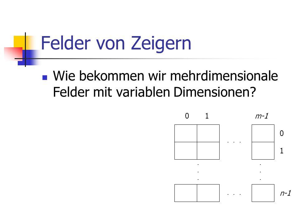 Felder von Zeigern Wie bekommen wir mehrdimensionale Felder mit variablen Dimensionen?............... 01m-1 0 1 n-1