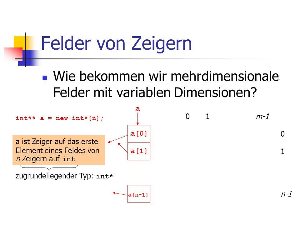 Felder von Zeigern Wie bekommen wir mehrdimensionale Felder mit variablen Dimensionen? 01m-1 0 1 n-1 int** a = new int*[n]; a a ist Zeiger auf das ers