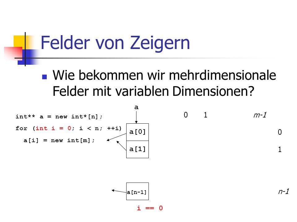 Felder von Zeigern Wie bekommen wir mehrdimensionale Felder mit variablen Dimensionen? 01m-1 0 1 n-1 int** a = new int*[n]; for (int i = 0; i < n; ++i