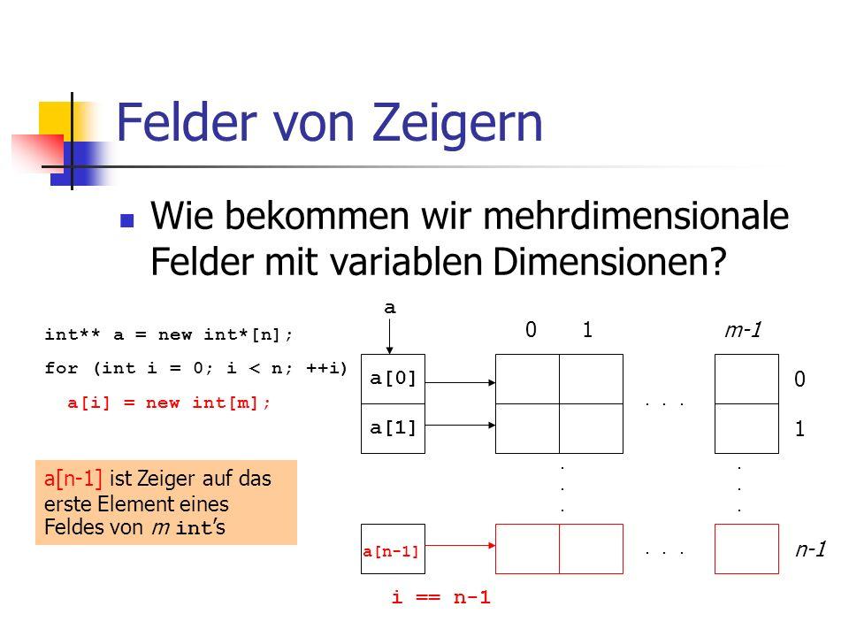Felder von Zeigern Wie bekommen wir mehrdimensionale Felder mit variablen Dimensionen?............... 01m-1 0 1 n-1 int** a = new int*[n]; for (int i