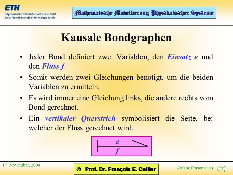 Anfang Präsentation 17. November, 2004 Kausale Bondgraphen Jeder Bond definiert zwei Variablen, den Einsatz e und den Fluss f. Somit werden zwei Gleic