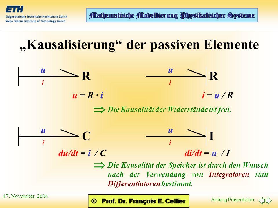 Anfang Präsentation 17. November, 2004 Kausalisierung der passiven Elemente u i R u = R · i u i R i = u / R u i C du/dt = i / C u i I di/dt = u / I Di