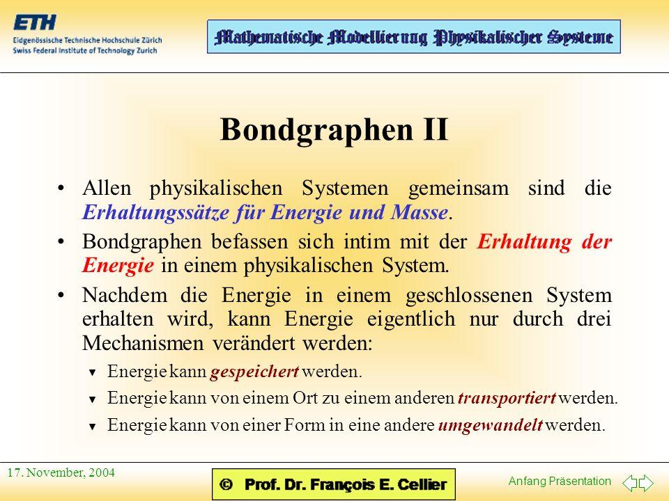 Anfang Präsentation 17. November, 2004 Bondgraphen II Allen physikalischen Systemen gemeinsam sind die Erhaltungssätze für Energie und Masse. Bondgrap