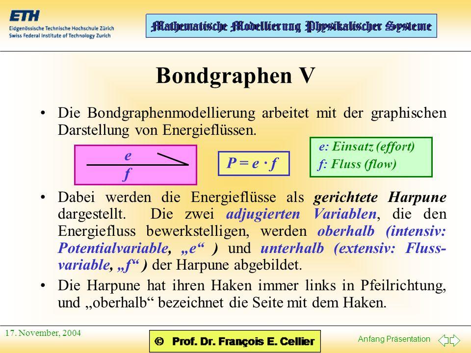 Anfang Präsentation 17. November, 2004 Bondgraphen V Die Bondgraphenmodellierung arbeitet mit der graphischen Darstellung von Energieflüssen. Dabei we
