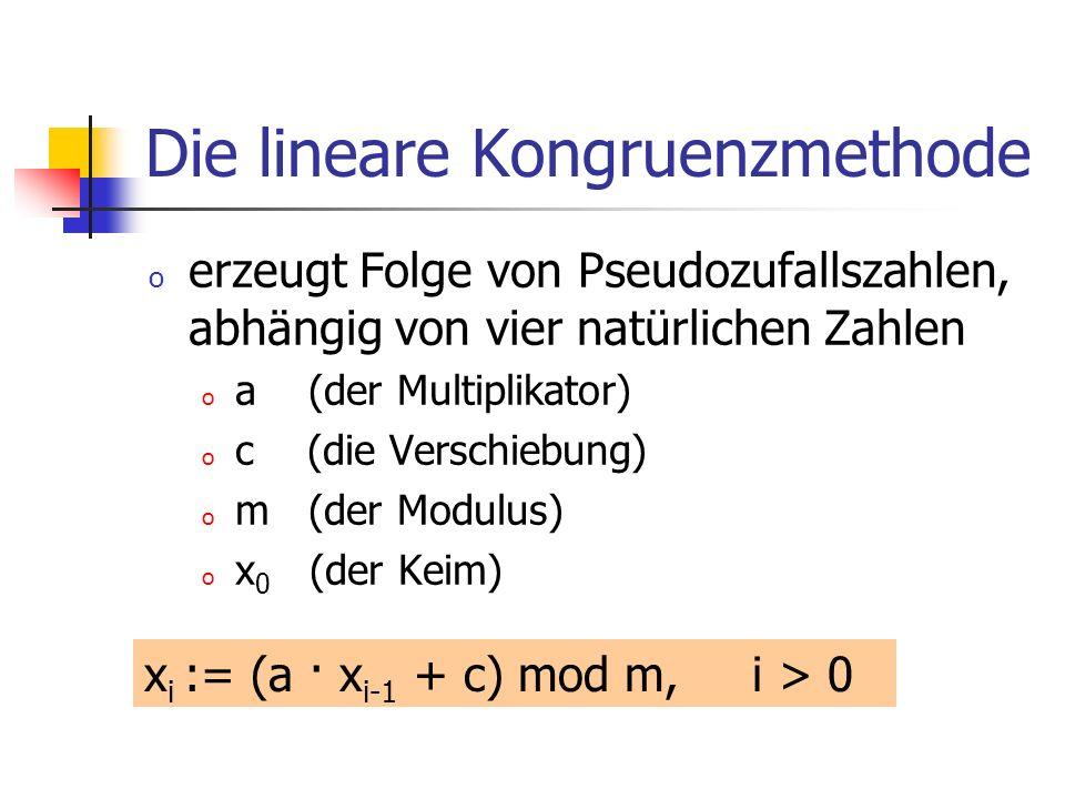 Die lineare Kongruenzmethode o erzeugt Folge von Pseudozufallszahlen, abhängig von vier natürlichen Zahlen o a (der Multiplikator) o c (die Verschiebung) o m (der Modulus) o x 0 (der Keim) x i := (a · x i-1 + c) mod m, i > 0