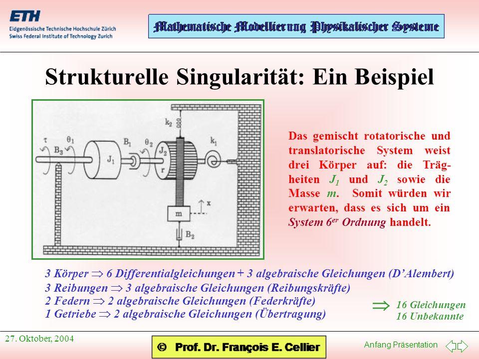 Anfang Präsentation 27. Oktober, 2004 Strukturelle Singularität: Ein Beispiel 16 Gleichungen 16 Unbekannte Das gemischt rotatorische und translatorisc