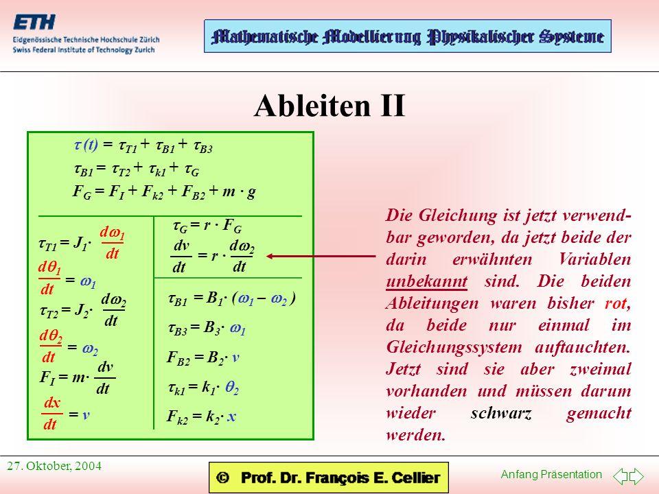 Anfang Präsentation 27. Oktober, 2004 Ableiten II (t) = T1 + B1 + B3 B1 = T2 + k1 + G F G = F I + F k2 + F B2 + m · g T1 = J 1 · d 1 dt d 1 dt = 1 T2