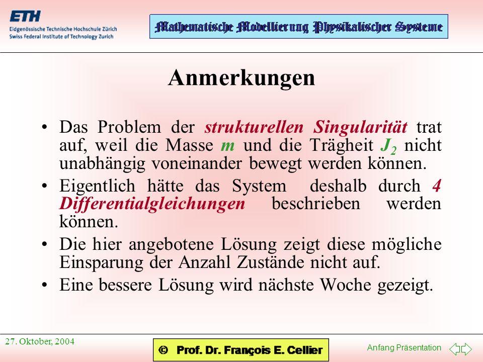 Anfang Präsentation 27. Oktober, 2004 Anmerkungen Das Problem der strukturellen Singularität trat auf, weil die Masse m und die Trägheit J 2 nicht una