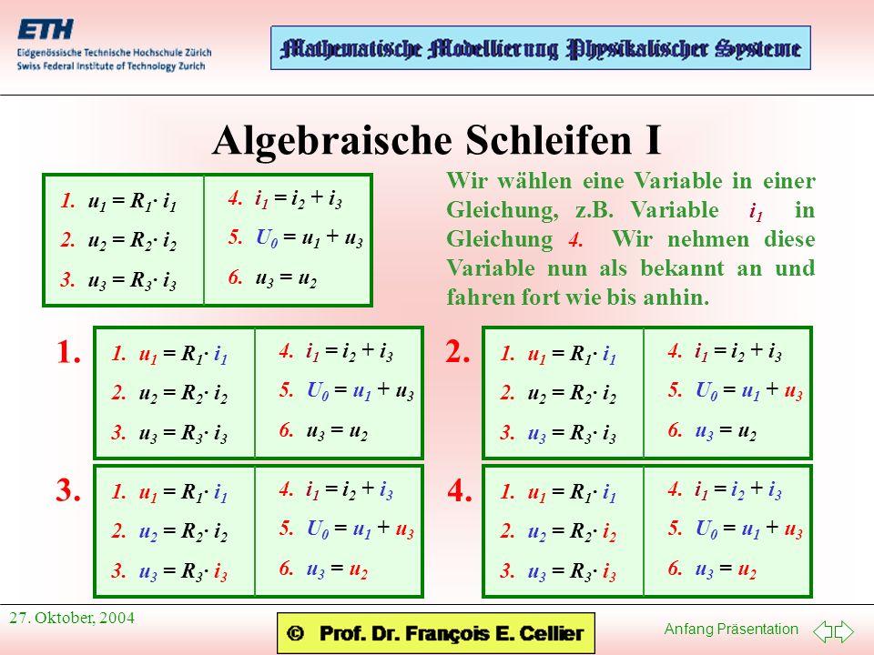 Anfang Präsentation 27. Oktober, 2004 Algebraische Schleifen I 1. u 1 = R 1 · i 1 2. u 2 = R 2 · i 2 3. u 3 = R 3 · i 3 4. i 1 = i 2 + i 3 5. U 0 = u