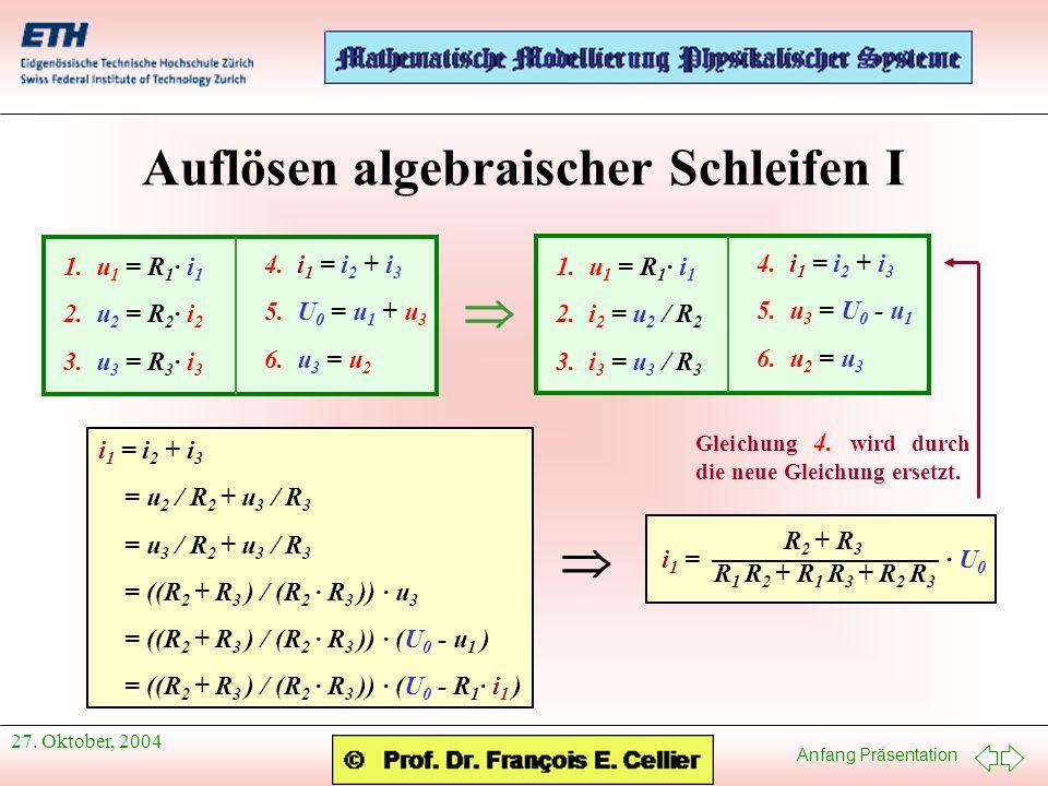 Anfang Präsentation 27. Oktober, 2004 Auflösen algebraischer Schleifen I 1. u 1 = R 1 · i 1 2. u 2 = R 2 · i 2 3. u 3 = R 3 · i 3 4. i 1 = i 2 + i 3 5