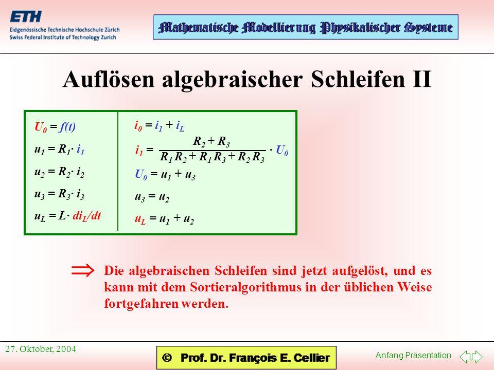 Anfang Präsentation 27. Oktober, 2004 Auflösen algebraischer Schleifen II U 0 = f(t) u 1 = R 1 · i 1 u 2 = R 2 · i 2 u 3 = R 3 · i 3 u L = L· di L /dt