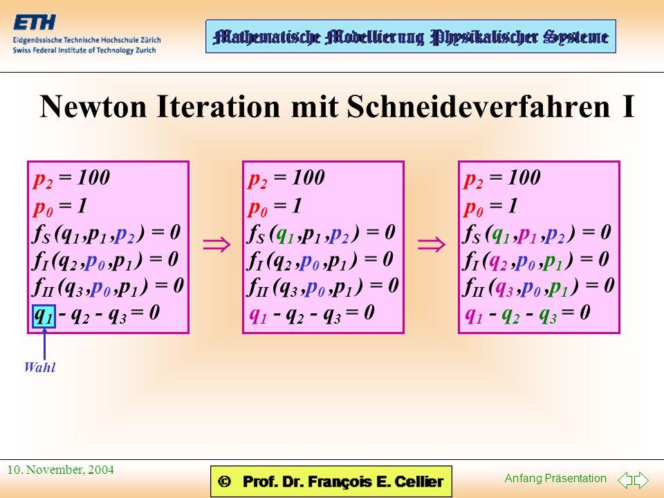 Anfang Präsentation 10. November, 2004 Newton Iteration mit Schneideverfahren I Wahl p 2 = 100 p 0 = 1 f S (q 1,p 1,p 2 ) = 0 f I (q 2,p 0,p 1 ) = 0 f