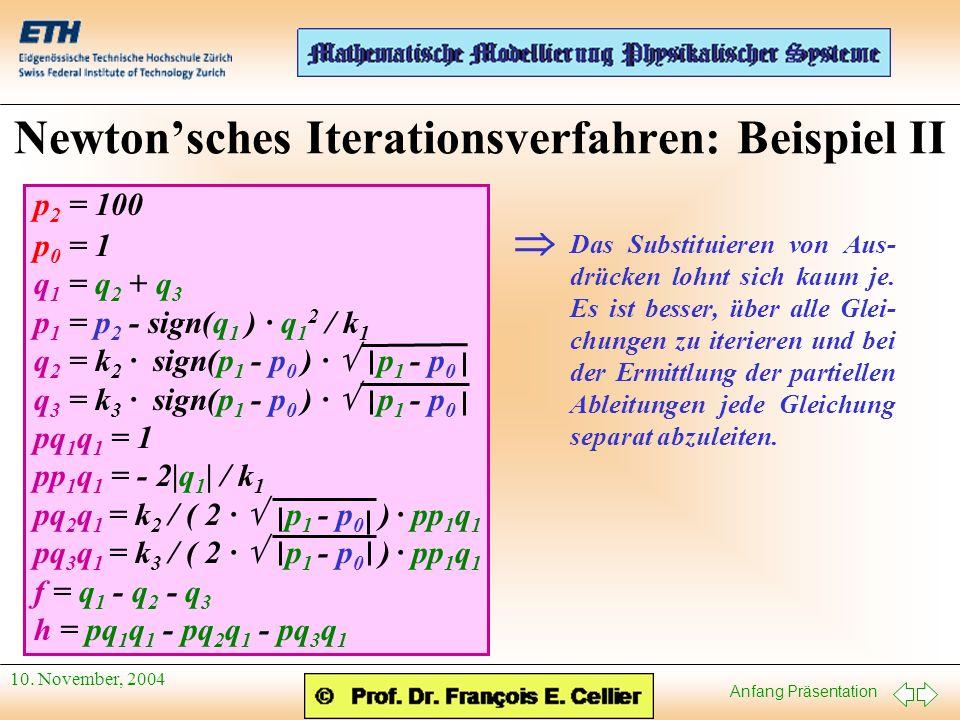 Anfang Präsentation 10. November, 2004 Newtonsches Iterationsverfahren: Beispiel II p 2 = 100 p 0 = 1 q 1 = q 2 + q 3 p 1 = p 2 - sign(q 1 ) · q 1 2 /