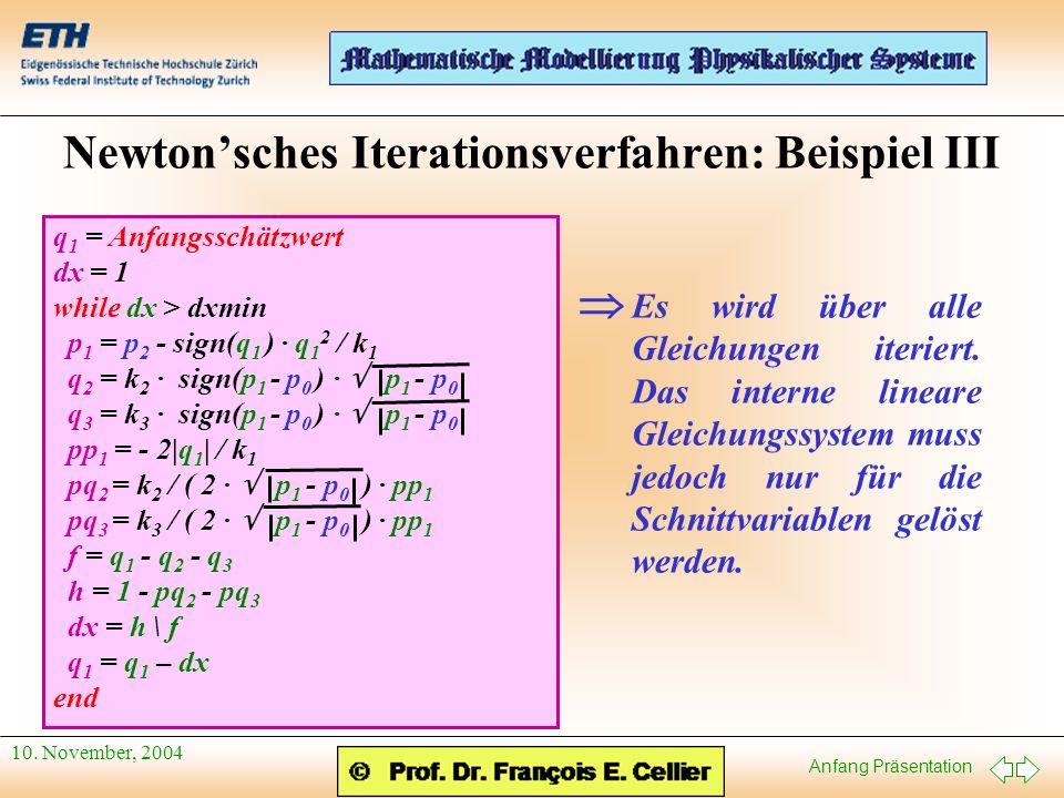 Anfang Präsentation 10. November, 2004 Newtonsches Iterationsverfahren: Beispiel III q 1 = Anfangsschätzwert dx = 1 while dx > dxmin p 1 = p 2 - sign(