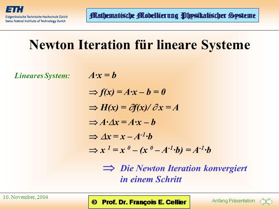 Anfang Präsentation 10. November, 2004 Newton Iteration für lineare Systeme Lineares System: A·x = b f(x) = A·x – b = 0 H(x) = f(x)/ x = A A· x = A·x