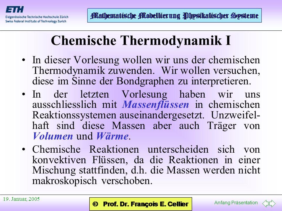 Anfang Präsentation 19. Januar, 2005 Chemische Thermodynamik I In dieser Vorlesung wollen wir uns der chemischen Thermodynamik zuwenden. Wir wollen ve