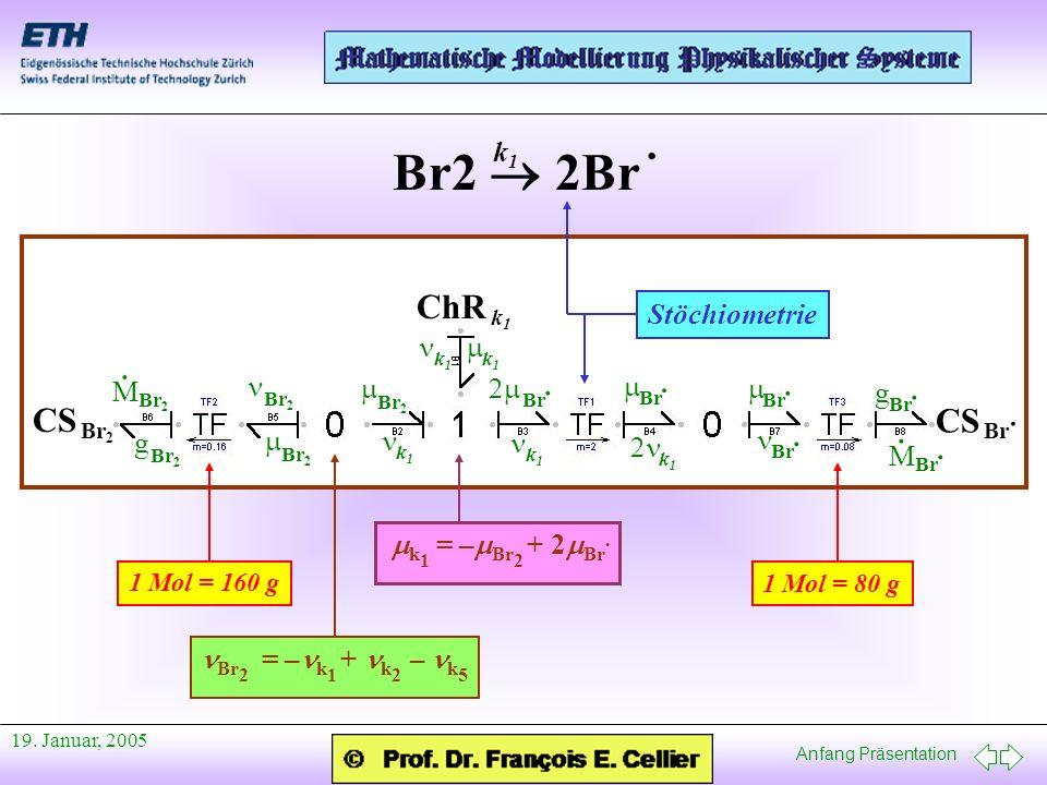 Anfang Präsentation 19. Januar, 2005 CS Br 2 CS Br · ChR k1k1 Br2 2Br · k1k1 g Br 2 M · M Br · · g · Br 2 Br · Br · Br 2 1 Mol = 80 g 1 Mol = 160 g Br