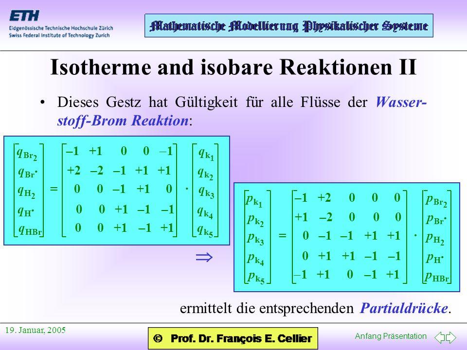 Anfang Präsentation 19. Januar, 2005 Isotherme and isobare Reaktionen II Dieses Gestz hat Gültigkeit für alle Flüsse der Wasser- stoff-Brom Reaktion: