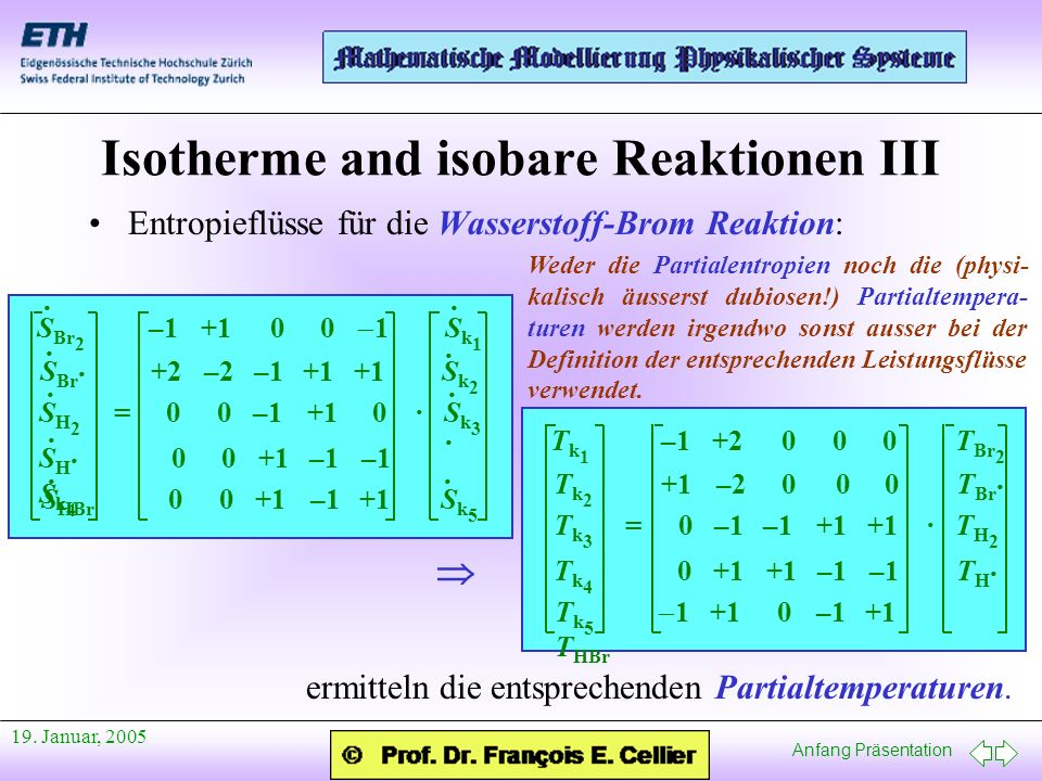 Anfang Präsentation 19. Januar, 2005 Isotherme and isobare Reaktionen III T k 1 –1 +2 0 0 0 T Br 2 T k 2 +1 –2 0 0 0 T Br · T k 3 = 0 –1 –1 +1 +1 · T