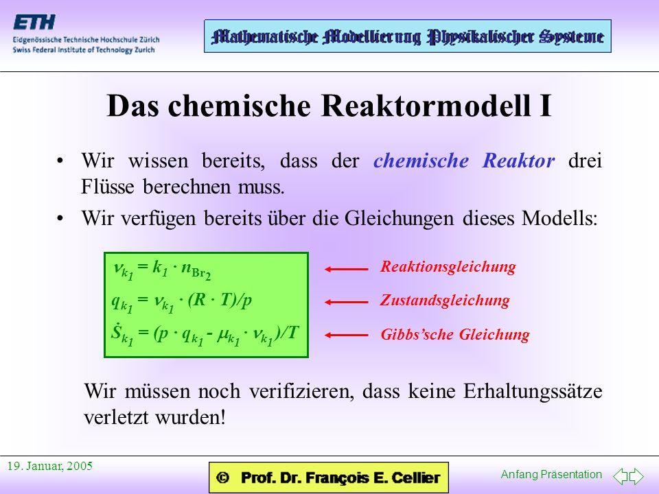 Anfang Präsentation 19. Januar, 2005 Das chemische Reaktormodell I Wir wissen bereits, dass der chemische Reaktor drei Flüsse berechnen muss. Wir verf
