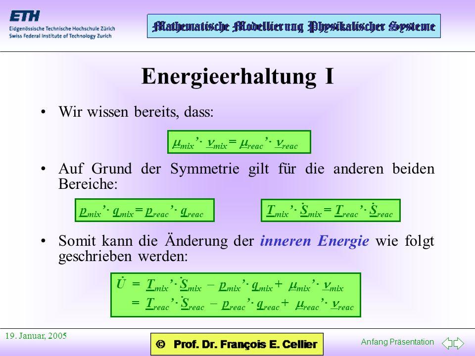 Anfang Präsentation 19. Januar, 2005 Energieerhaltung I Wir wissen bereits, dass: Auf Grund der Symmetrie gilt für die anderen beiden Bereiche: Somit