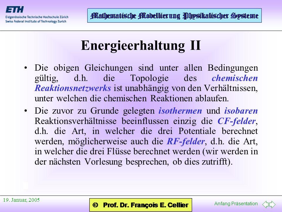 Anfang Präsentation 19. Januar, 2005 Energieerhaltung II Die obigen Gleichungen sind unter allen Bedingungen gültig, d.h. die Topologie des chemischen