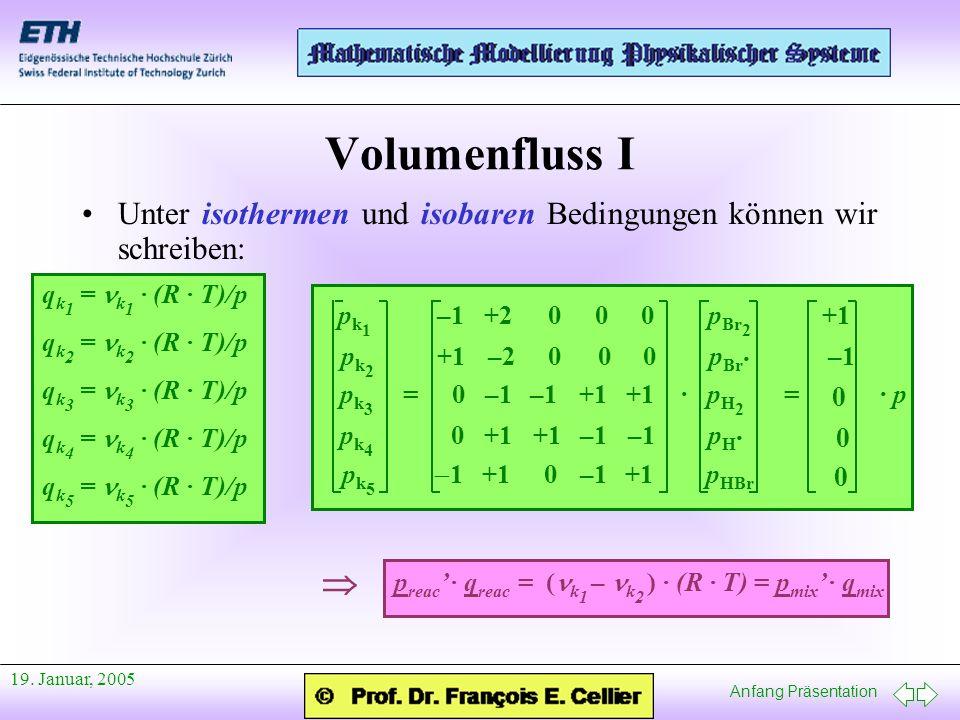 Anfang Präsentation 19. Januar, 2005 Volumenfluss I Unter isothermen und isobaren Bedingungen können wir schreiben: q k 1 = k 1 · (R · T)/p q k 2 = k
