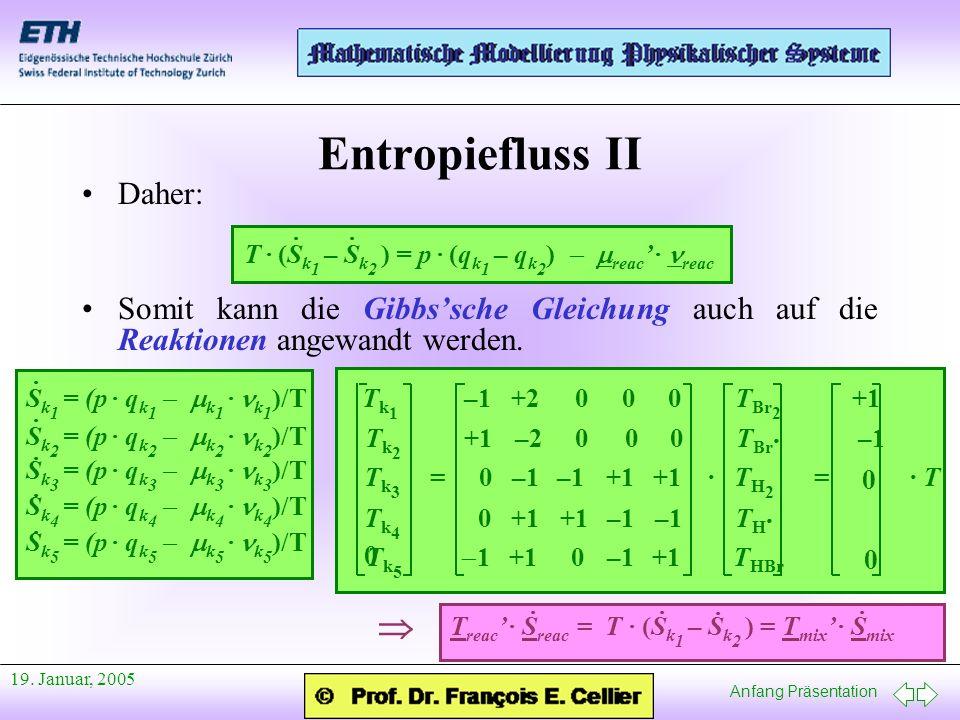 Anfang Präsentation 19. Januar, 2005 Daher: Somit kann die Gibbssche Gleichung auch auf die Reaktionen angewandt werden. Entropiefluss II T · (S k 1 –