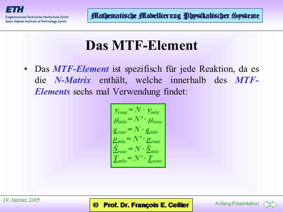 Anfang Präsentation 19. Januar, 2005 Das MTF-Element Das MTF-Element ist spezifisch für jede Reaktion, da es die N-Matrix enthält, welche innerhalb de
