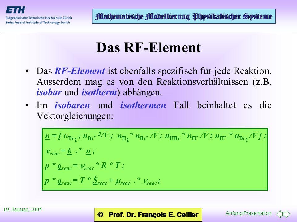 Anfang Präsentation 19. Januar, 2005 Das RF-Element Das RF-Element ist ebenfalls spezifisch für jede Reaktion. Ausserdem mag es von den Reaktionsverhä