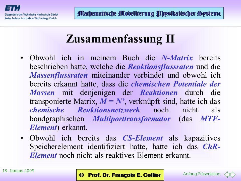 Anfang Präsentation 19. Januar, 2005 Zusammenfassung II Obwohl ich in meinem Buch die N-Matrix bereits beschrieben hatte, welche die Reaktionsflussrat