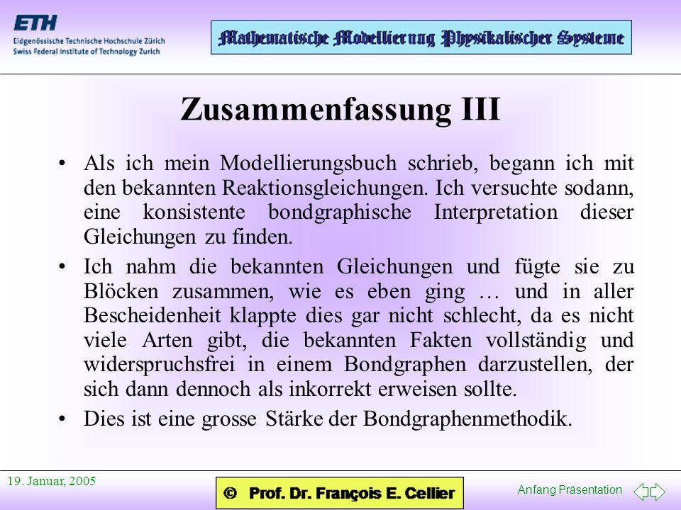Anfang Präsentation 19. Januar, 2005 Zusammenfassung III Als ich mein Modellierungsbuch schrieb, begann ich mit den bekannten Reaktionsgleichungen. Ic