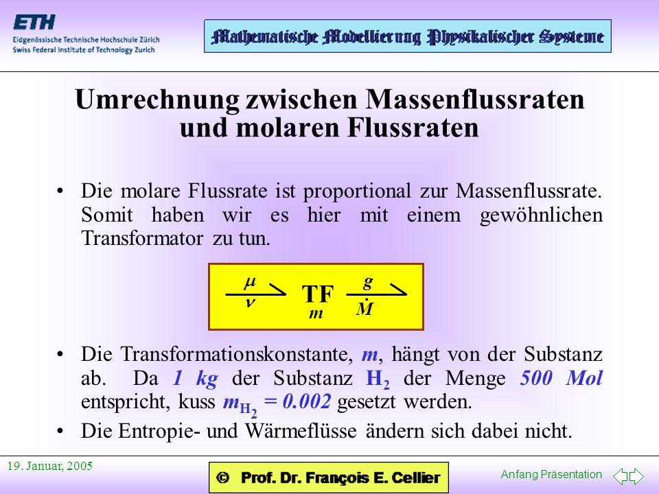 Anfang Präsentation 19. Januar, 2005 Die molare Flussrate ist proportional zur Massenflussrate. Somit haben wir es hier mit einem gewöhnlichen Transfo