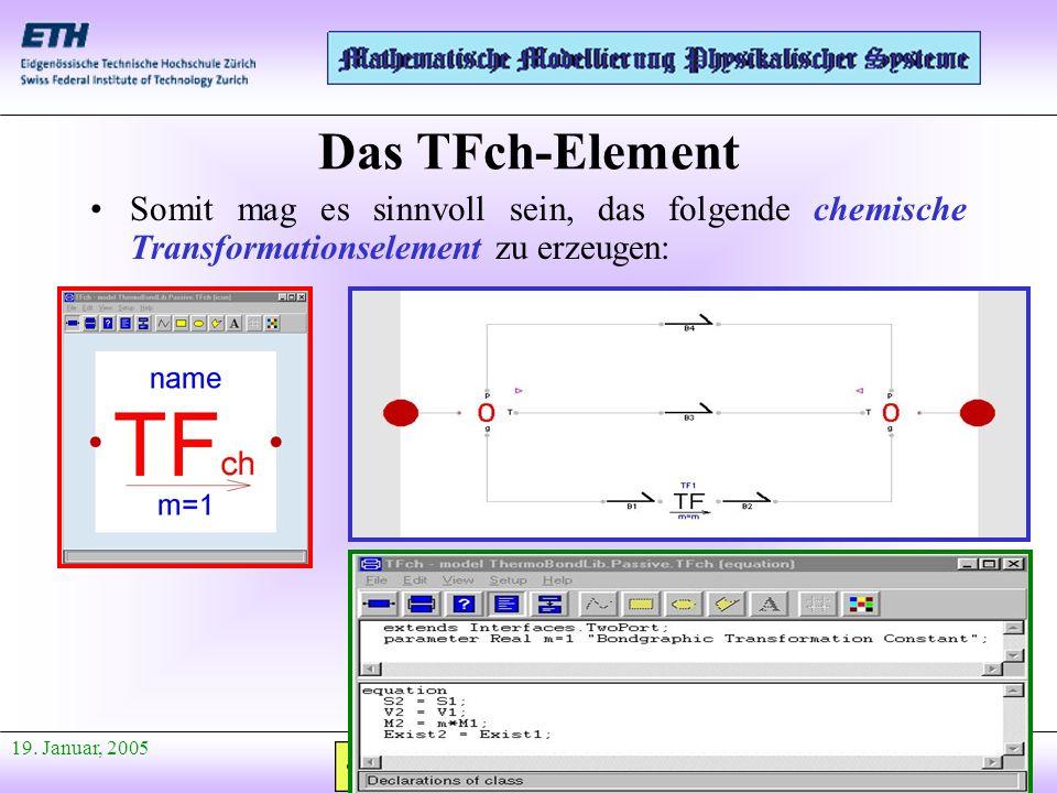 Anfang Präsentation 19. Januar, 2005 Somit mag es sinnvoll sein, das folgende chemische Transformationselement zu erzeugen: Das TFch-Element