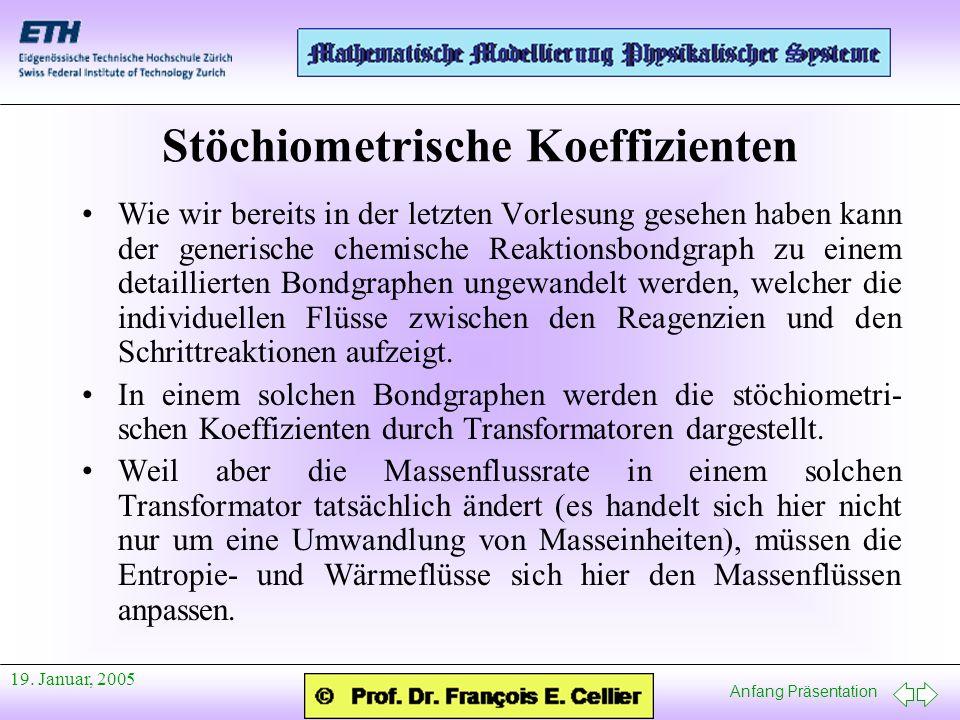 Anfang Präsentation 19. Januar, 2005 Stöchiometrische Koeffizienten Wie wir bereits in der letzten Vorlesung gesehen haben kann der generische chemisc
