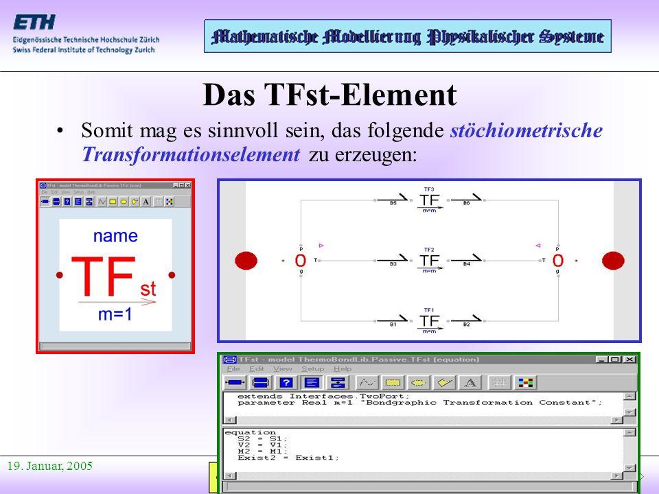 Anfang Präsentation 19. Januar, 2005 Somit mag es sinnvoll sein, das folgende stöchiometrische Transformationselement zu erzeugen: Das TFst-Element
