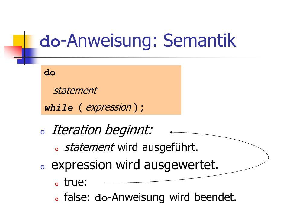 do -Anweisung: Semantik o Iteration beginnt: o statement wird ausgeführt. o expression wird ausgewertet. o true: o false: do -Anweisung wird beendet.
