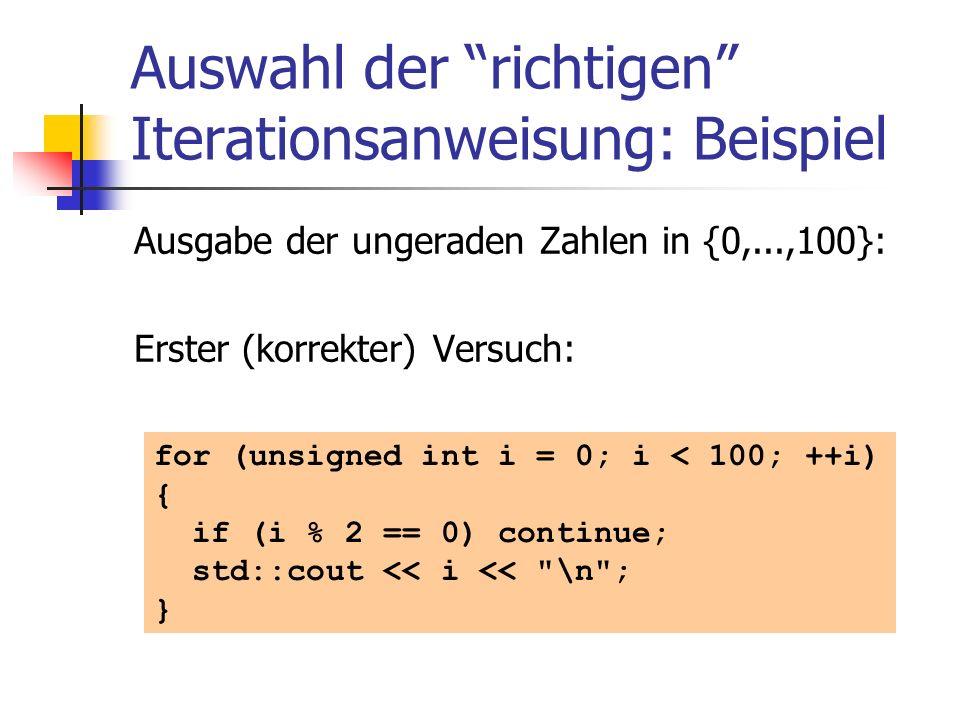 Auswahl der richtigen Iterationsanweisung: Beispiel Ausgabe der ungeraden Zahlen in {0,...,100}: Erster (korrekter) Versuch: for (unsigned int i = 0;