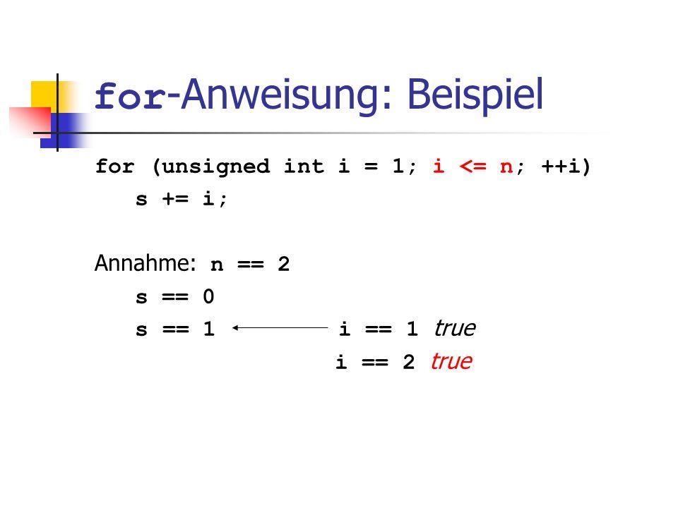 for -Anweisung: Beispiel for (unsigned int i = 1; i <= n; ++i) s += i; Annahme: n == 2 s == 0 s == 1 i == 1 true i == 2 true