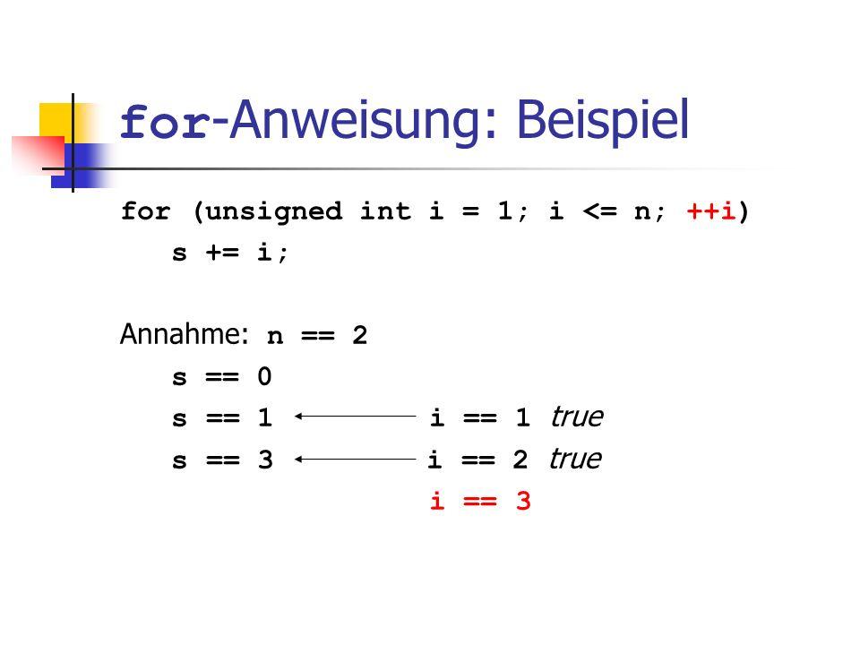 for -Anweisung: Beispiel for (unsigned int i = 1; i <= n; ++i) s += i; Annahme: n == 2 s == 0 s == 1 i == 1 true s == 3 i == 2 true i == 3