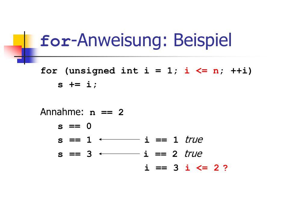 for -Anweisung: Beispiel for (unsigned int i = 1; i <= n; ++i) s += i; Annahme: n == 2 s == 0 s == 1 i == 1 true s == 3 i == 2 true i == 3 i <= 2 ?